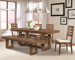 natural wood dining room design with rough wood table and