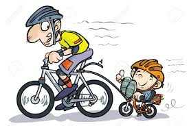 tricycle cartoon cartoon father and son bicyclists royalty free cliparts vectors