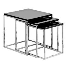 buy nest of tables krystal set of 3 nesting tables in black gloss with chrome