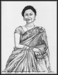 beautiful pencil sketches indian woman in saree perhaps my most