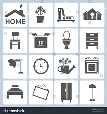 home icons furniture interior design icon stock vector 142895833