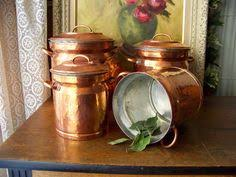 vintage copper and brass canister set by deerstopvintagehome