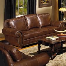 traditional leather sofa with nailhead trim by usa premium leather
