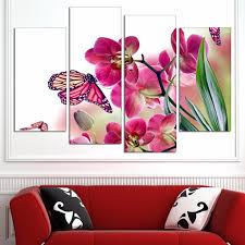 4 orchid butterfly wall painting modern home wall decor