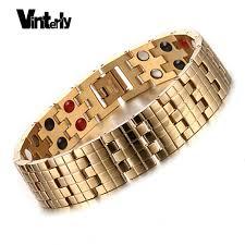 bracelet magnetic stainless steel images Vinterly gold color men bracelets health bio magnetic germanium jpg