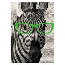 kavka designs zebra in the glasses green black white area rug