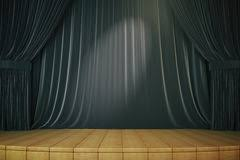 Stage With Curtains Blue Curtain Background And Stage With Sport Lights Stock Photo