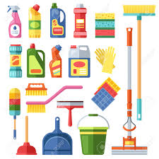 house cleaning tools and cleaning products flat vector icons