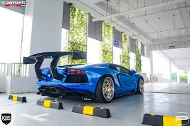 Lamborghini Aventador Side View - 2 chrome blue liberty walk lamborghini aventador pur wheels rear