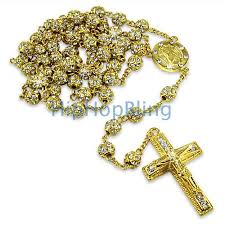 gold rosary gold totally bling bling rosary necklace hip hop rosary necklaces