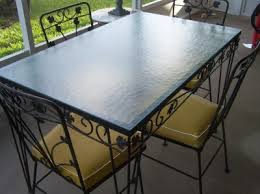 Black Glass Patio Table Vintage Wrought Iron Patio Table And 4 Chairs Glass Top Black
