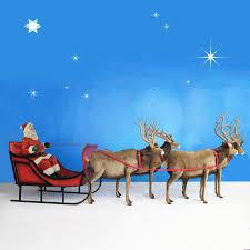 santa sleigh and reindeer sized santa sleigh four reindeer 65