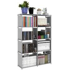 korean diy book storage 5 tier with 8 columns grey lazada malaysia
