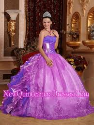 ball gown strapless ruffles and beading lilac elegant quinceanera