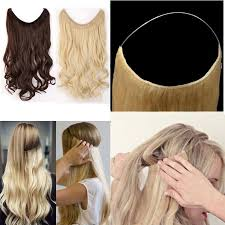 invisible line hair extensions s noilite 20 inches invisible wire no clips in hair extensions