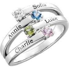 mothers ring silver 1 to 4 stones names engravable ring