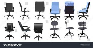 Leather Office Chair Front Desk Chair Front Back Side Collection Stock Vector 550059262
