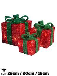 light up gift boxes presents set of 3 glitter led indoor