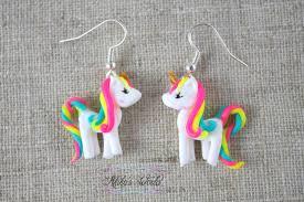 unicorn earrings kawaii rainbow unicorn earrings made out of