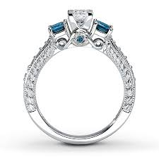 martin luther wedding ring blue diamond halo ring in kt white gold ct tw pict