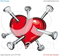 clipart heart stabbed with nails royalty free vector
