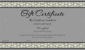 beauty in gray gift certificate template get certificate templates