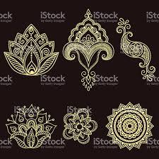 henna tattoo flower templatemehndi set stock vector art 543555848