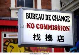 bureau de change sans commission sign currency exchange office stock photos sign currency
