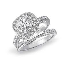 antique engagement ring settings engagement rings cushion cubic zirconia sterling silver 2pc halo