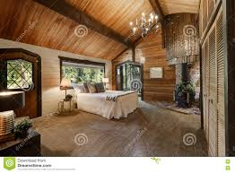 Wooden Bedroom by Wooden Bedroom Interior With High Vaulted Ceiling Stock Photo