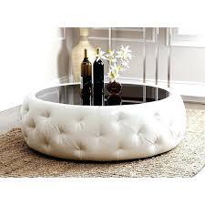round leather tufted ottoman white leather ottoman coffee table joocy me