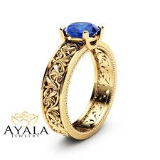 natural sapphire rings images Solitaire natural sapphire engagement ring 14k yellow gold jpg