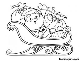 printable christmas santa claus sleigh gifts coloring
