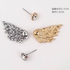 s earrings es101 women s angel wings stud earrings inlaid alloy ear