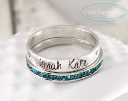 stackable rings with children s names sterling silver stackable name birthstone rings woobie beans