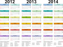 2012 2013 2014 calendar 2 three year printable excel calendars