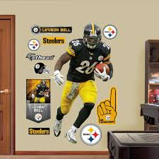 steelers wall decals home interior decor decals antonio brown fathead wall decal shop pittsburgh leuveon bell lifesize steelers wall decals leuveon bell