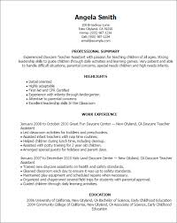 Sample Teacher Resume No Experience by Daycare Teacher Resume Resume Example
