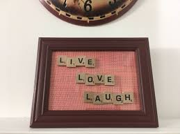 rugged home decor handmade frame display live love laugh scrabble gifts rustic