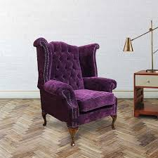 purple chesterfield newby high back wing chair designersofas4u