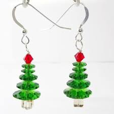 christmas earrings swarovski christmas tree earrings ebay