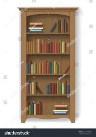 tidy books bookcase white wooden bookcase books on shelves furniture stock vector 428198746