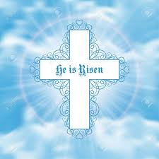 he is risen easter greeting card with white cross and sun rays in