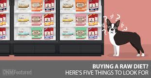 what to look for when choosing commercial raw dog food dogs