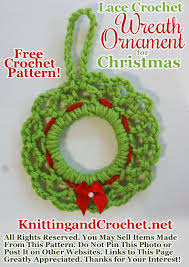 lace crochet wreath ornament for knitting and crochet