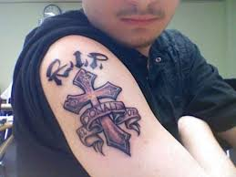 in memorian rip tattoo designs on upper arm for man tattoo