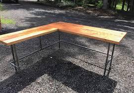 industrial desk l l shaped desk black iron pipe l shaped desk reclaimed wood