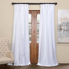 White Faux Silk Curtains Exclusive Fabrics Signature Pinch Pleated Blackout Solid Faux Silk