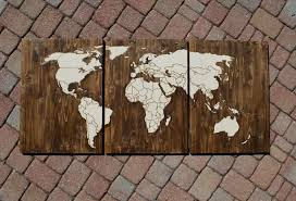 World Map Wood Wall Art by Wood Stain World Map With Wood Burn Outlines Of Countries With