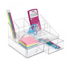 bureau rangé organiseur de bureau transparent 7 compartiments et 2 tiroirs bureaus